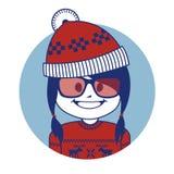 Muchacha de Santa Claus del carácter de la Navidad en sombrero rojo Imagen de archivo