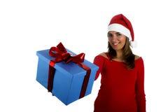 Muchacha de Santa con los regalos Fotos de archivo libres de regalías