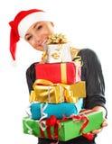 Muchacha de Santa con los regalos Fotografía de archivo