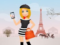 Muchacha de Selfie en París stock de ilustración