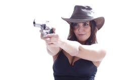 Muchacha de Sexi con el sombrero con el arma Fotos de archivo libres de regalías