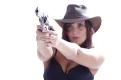 Muchacha de Sexi en sombrero con el arma Imagenes de archivo