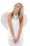 Muchacha de sueño en blanco con las alas Imagen de archivo