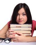 Muchacha de universidad con los libros Imagen de archivo