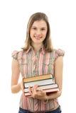Muchacha de universidad con los libros; isoated en blanco Imágenes de archivo libres de regalías