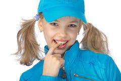 Muchacha de Yong en el casquillo azul Fotos de archivo libres de regalías