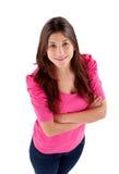 Muchacha de Youg con la opinión rosada de la camiseta desde arriba Fotos de archivo
