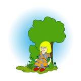 Muchacha debajo del árbol Imagen de archivo libre de regalías
