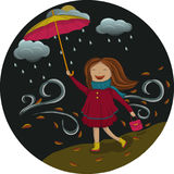 Muchacha debajo del paraguas en la noche fotografía de archivo libre de regalías