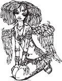 Muchacha del ángel con el tatuaje stock de ilustración