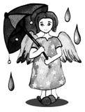 Muchacha del ángel con los gráficos del paraguas foto de archivo libre de regalías