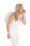 Muchacha del ángel en blanco que habla algo Fotos de archivo libres de regalías