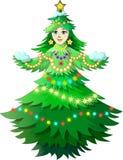 Muchacha del árbol de navidad Imagen de archivo libre de regalías