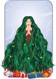 Muchacha del árbol de navidad Foto de archivo