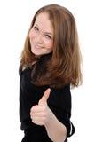 Muchacha del éxito que expone mayores dedos, Imagen de archivo libre de regalías