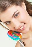 Muchacha del adolescente con el lollipop Fotografía de archivo
