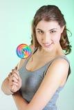 Muchacha del adolescente con el lollipop Imagen de archivo