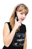 Muchacha del adolescente con el teléfono móvil Fotos de archivo
