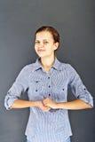 Muchacha del adolescente con la camisa azul Imagenes de archivo