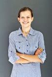 Muchacha del adolescente con la camisa azul Fotografía de archivo libre de regalías