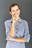 Muchacha del adolescente con la camisa azul Imagen de archivo