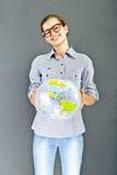 Muchacha del adolescente con la camisa azul Imágenes de archivo libres de regalías