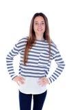Muchacha del adolescente con la camiseta rayada y sus manos Imagen de archivo