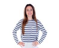 Muchacha del adolescente con la camiseta rayada y sus manos Foto de archivo libre de regalías