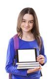 Muchacha del adolescente con la cartera y la tableta digital Fotografía de archivo libre de regalías