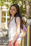 Muchacha del adolescente con la mochila al aire libre Fotografía de archivo