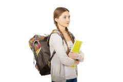 Muchacha del adolescente con la mochila de la escuela Fotografía de archivo libre de regalías