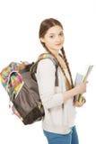 Muchacha del adolescente con la mochila de la escuela Foto de archivo libre de regalías