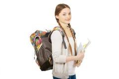 Muchacha del adolescente con la mochila de la escuela Foto de archivo