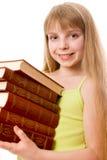 Muchacha del adolescente con la pila de libros Fotos de archivo
