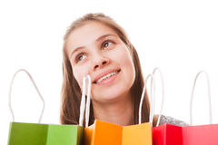 Muchacha del adolescente con los panieres Imágenes de archivo libres de regalías
