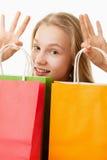Muchacha del adolescente con los panieres Foto de archivo libre de regalías