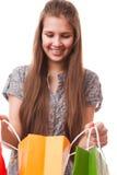 Muchacha del adolescente con los panieres Imagen de archivo