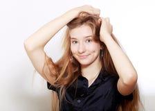 Muchacha del adolescente con los pelos largos Imágenes de archivo libres de regalías