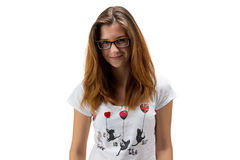 Muchacha del adolescente con los vidrios Fotos de archivo libres de regalías