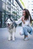 Muchacha del adolescente con su perro Foto de archivo libre de regalías