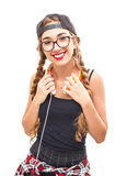 Muchacha del adolescente de la música con headhphone Imagen de archivo
