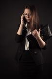 Muchacha del adolescente del descontento que habla en el teléfono móvil Foto de archivo