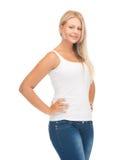 Muchacha del adolescente en camiseta blanca en blanco Imagenes de archivo