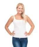 Muchacha del adolescente en camiseta blanca en blanco Fotos de archivo libres de regalías