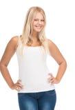 Muchacha del adolescente en camiseta blanca en blanco Foto de archivo