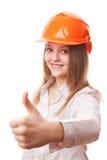Muchacha del adolescente en un casco de protección Fotografía de archivo