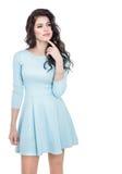 Muchacha del adolescente en un vestido azul Imagenes de archivo