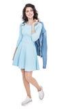 Muchacha del adolescente en un vestido azul Foto de archivo