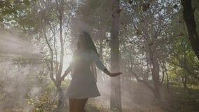 Muchacha del adolescente que lleva la ropa elegante y que hace girar en luz del sol brillante en un bosque con las hojas que caen almacen de video