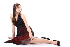 Muchacha del adolescente que pone en suelo Foto de archivo libre de regalías